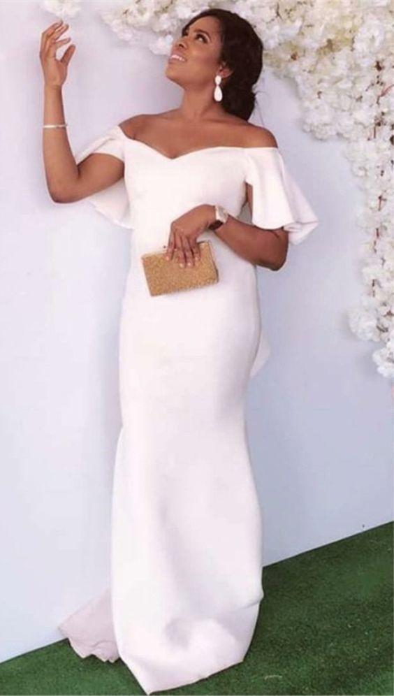 bf81f0634 Mermaid Off-the-Shoulder Long White Prom Bridesmaid Dress by Hiprom,  $108.99 USD