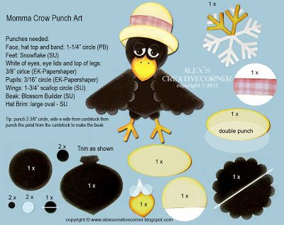 Alex's Creative Corner: Momma Crow Punch Art Instructions
