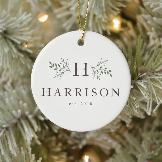 Rustic Holiday Monogram Newlywed Photo Ornament Zazzle Com Holiday Monogram Christmas Ornaments Holiday