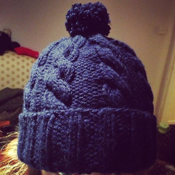 Knitting Pattern for Womens Chunky Cable Knit Beanie Hat Cable, Knitti...
