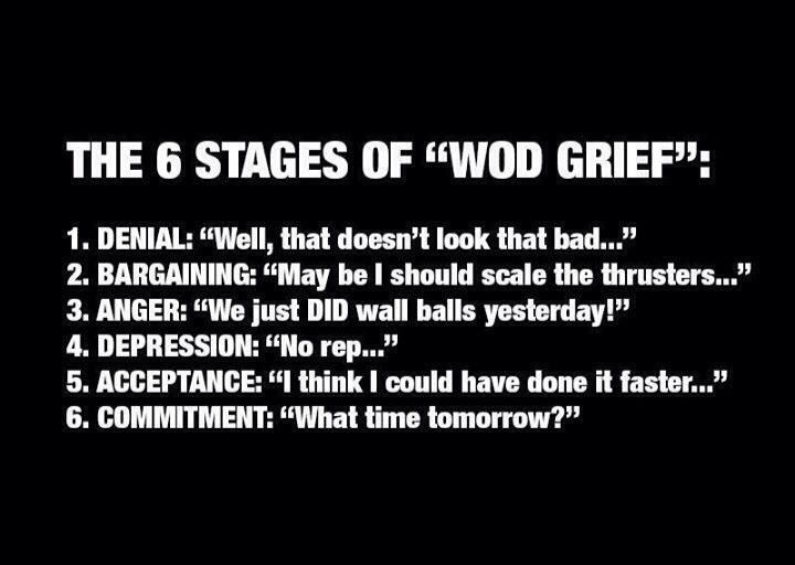 Wod Grief: see the wod= that doesn't look to bad, during the wod=this sucks, after the wod=can't wait until the next one