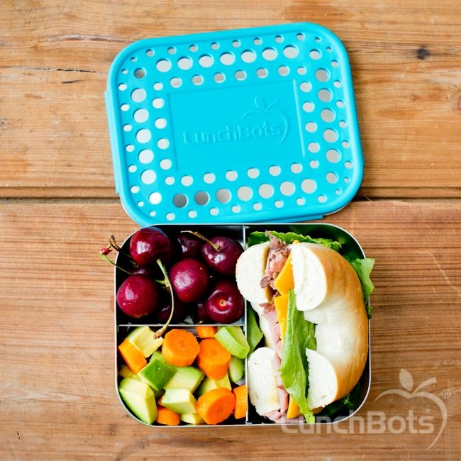 Roast beef and cheese on 1/2 bagel, cherries, carrots, avocado in the LunchBots Trio 2 #schoollunch #bento