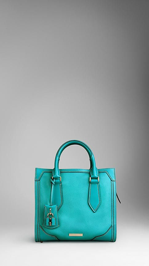 Burberry Small Grainy Leather Tote Bag. This Color is to DIE for!!