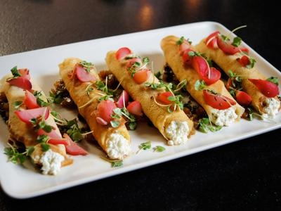 Roti Crepes with Ricotta Cream Cheese, Roasted Apple Chutney and Pickled RadishRadish Recipe, Cream Cheese, Cottage Cheese, Cottages Cheese, Pickles Radish, Brunches Recipe, Apples Chutneys, Luxury Hotels, Cooking Channel