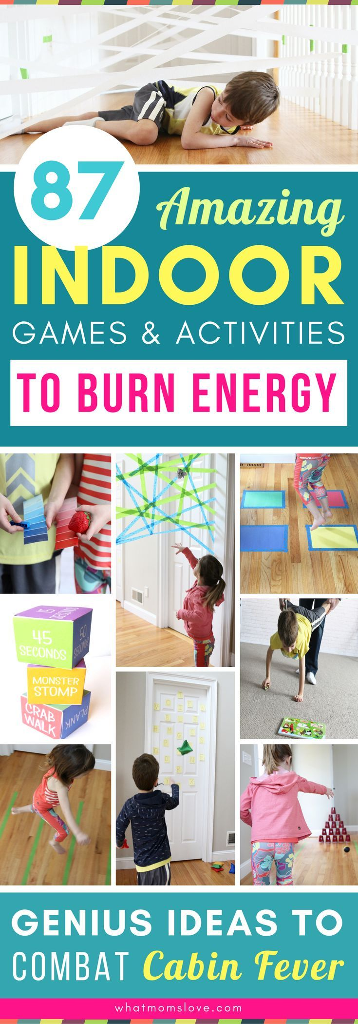Wow! These fun and easy indoor activities for kids are genius! Tons of DIY creative games and gross motor activities you can do at home in the winter on snow days or spring and summer on hot or rainy days - perfect for combatting cabin fever! Great boredom busters and brain breaks for toddlers, preschoolers, even tweens - both boys and girls. Includes obstacle courses, fun ideas with painters tape and so much more!