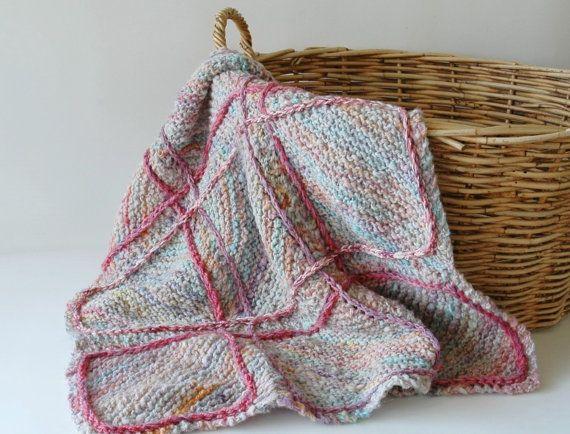 Knitted baby pram blanket in handspun wool by KororaCrafters on Etsy