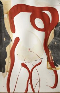 "Agusti Puig (Barcelona), ""Figure Roja,"" Mixed Media on Cardboard, 60""x 40"" Wow! What a fresh approach to gestural art!"