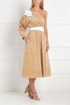 Вельветовое платье Corduro Princess A.W.A.K.E.. Бежевое платье на одно плечо из…