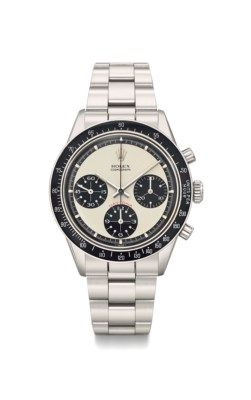 Rolex. A very fine, extremely rare and highly attractive stainless steel chronograph wristwatch with Paul Newman dial, bracelet and box SIGNED ROLEX, COSMOGRAPH, DAYTONA, PAUL NEWMAN MODEL, REF. 6264, CASE NO. 2'372'828, CIRCA 1970 Price realised CHF 307,500 Estimate CHF 150,000 - CHF 300,000