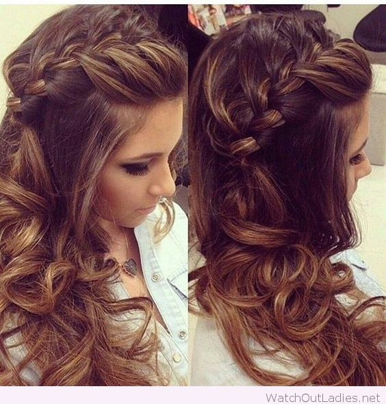 Side braided hair with curls