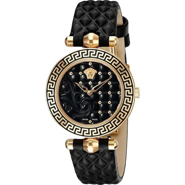 Versace Vanitas 30mm VQM01 0015 found on Polyvore featuring jewelry, watches, luxury watches, black jewelry, dial watches, black stainless steel watches, versace and black watches