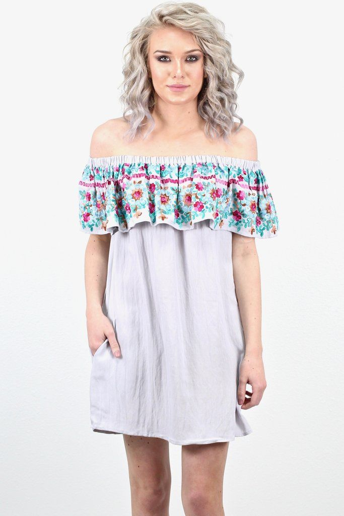 d81087c098d3 This off shoulder dress is to die for with its floral embroidery details on  the ruffle and its hidden side pockets! Score! Every girl needs a  spring summer ...