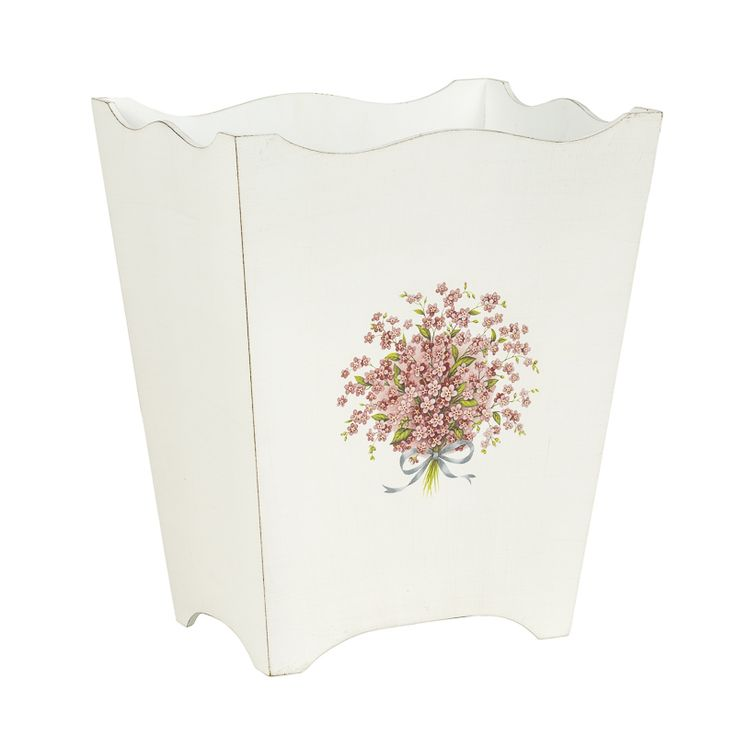 Shabby Chic Look Pretty White Waste Paper Bin | Perfect for girl's bedroom | Must-Have Bins