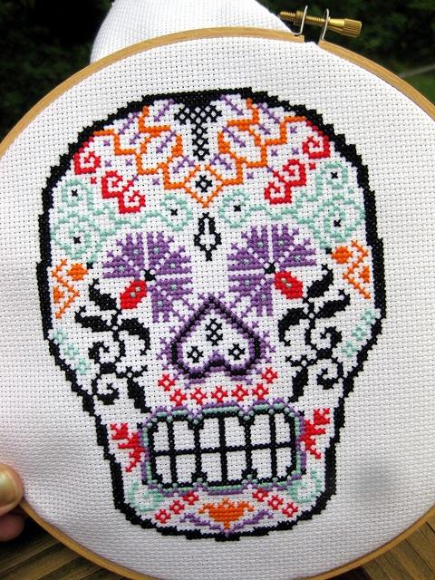 Sugar skull cross stitch!