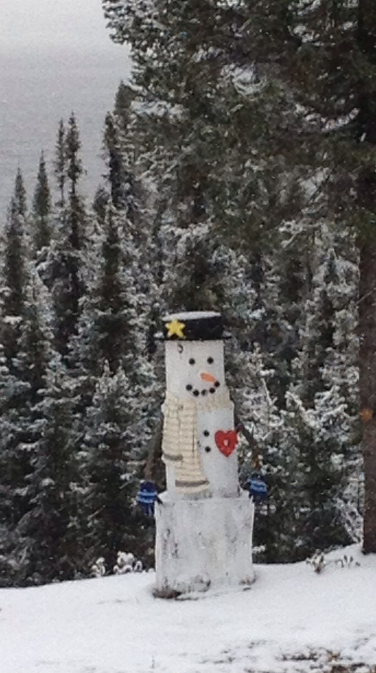 I love this idea for a log snowman.  The best part is he won't melt away.