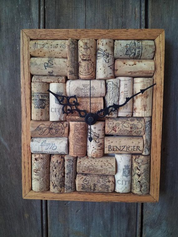 Wine Cork Art Clock by WildGooseChase on Etsy, $56.00