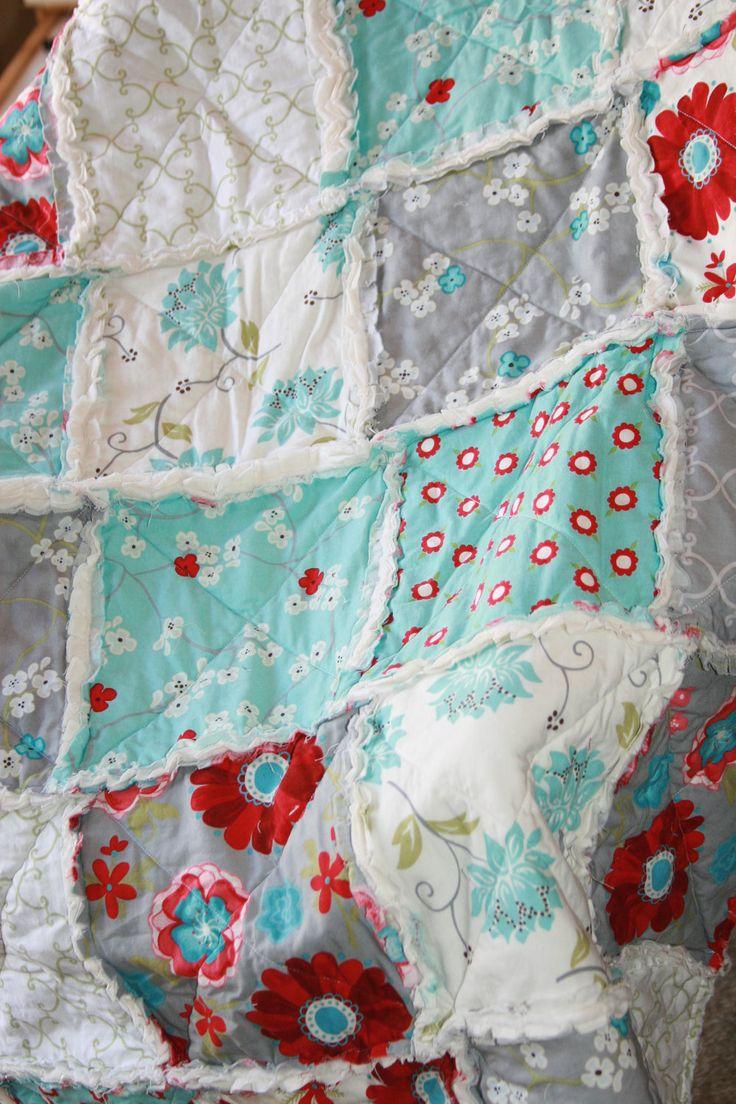 Crib Rag Quilt Baby Girl Crib Bedding Seaside Cottage Gray