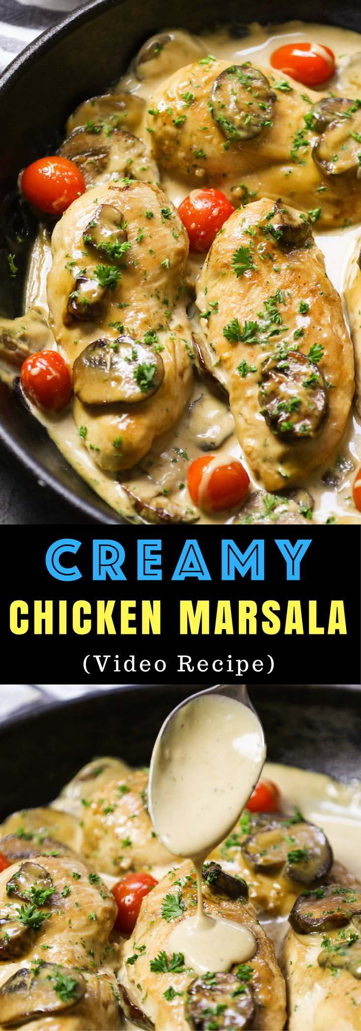 Easy Creamy Chicken Marsala – one of the easiest creamy dinner recipes. It will be on your table in less than 30 minutes. Delicious, super flavorful chicken breasts with creamy mushroom cooked with Marsala wine. Simply Yummy! Quick and easy dinner recipe. Video recipe. | tipbuzz.com