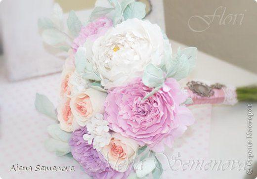 Поделка изделие Свадьба Моделирование конструирование Букет невесты из роз и пионов Фоамиран фом фото 6