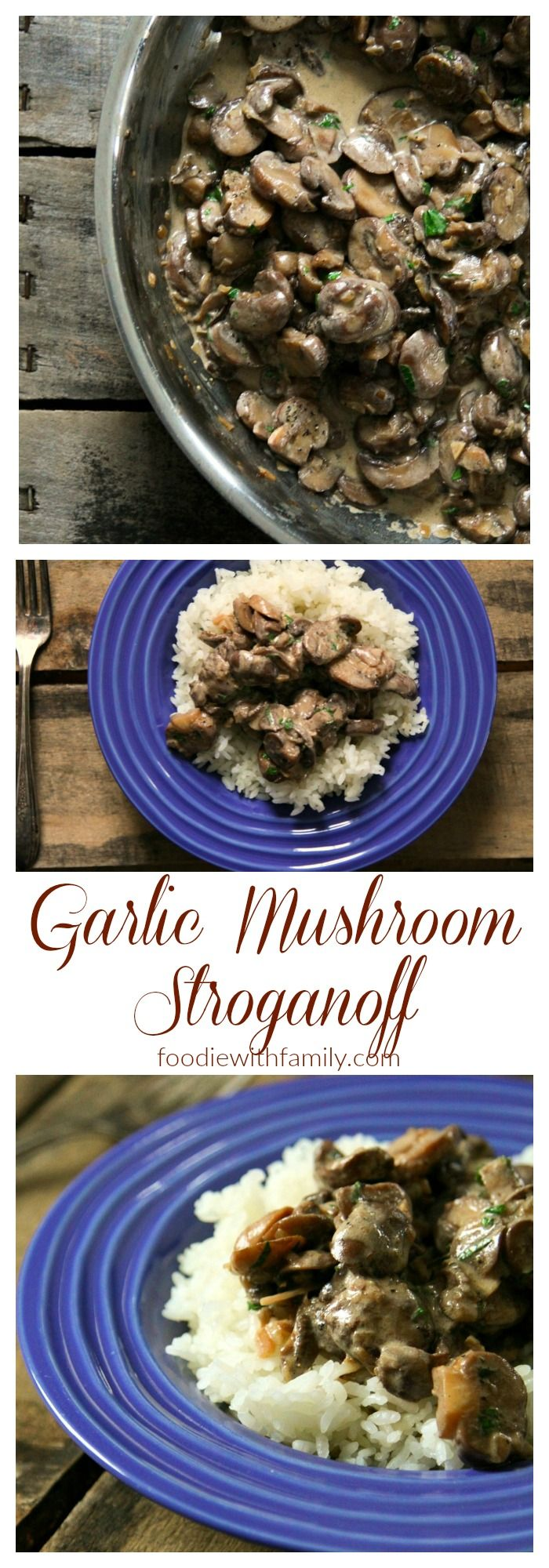 Garlic Mushroom Stroganoff is creamy, hearty, and full of umami, but won't weigh you down. Enjoy this as a vegetarian main dish, or serve with roasted beef, ham, or venison.