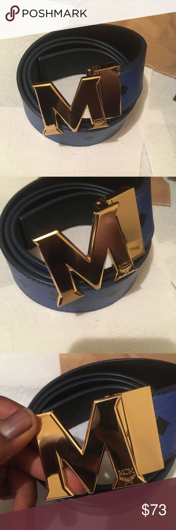 Spotted while shopping on Poshmark: Blue reversible mcm belt with a gold buckle! #poshmark #fashion #shopping #style #MCM #Accessories