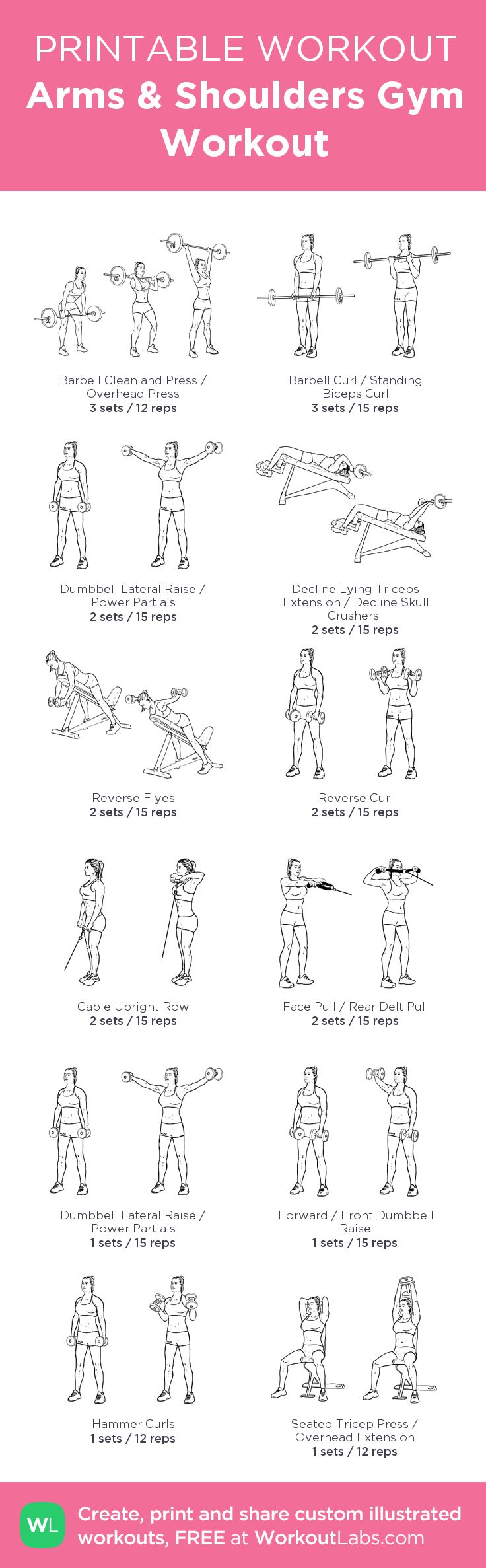 Arms & Shoulders Gym Workout:my visual workout created at WorkoutLabs.com • Click through to customize and download as a FREE PDF! #customworkout