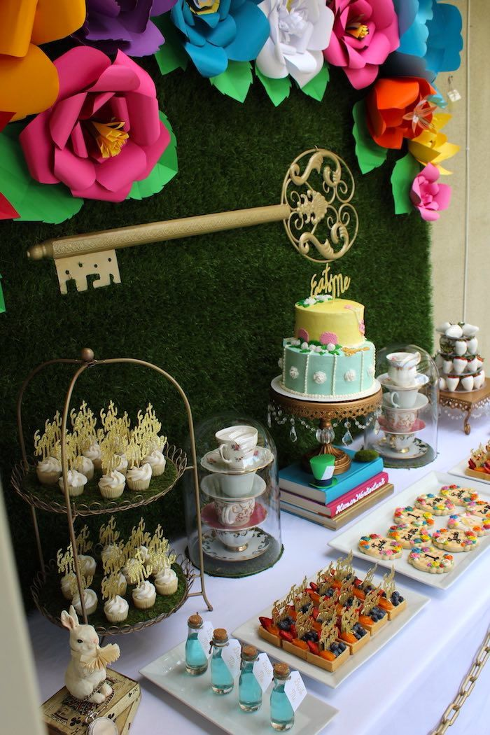 Close-up of Details from an Alice In Wonderland Dessert Table via Kara's Party Ideas   KarasPartyIdeas.com (21)