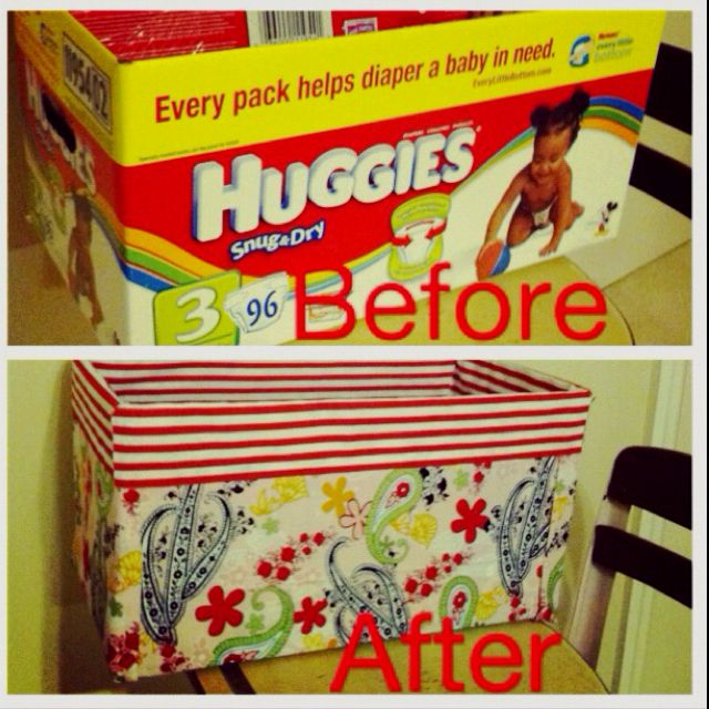 My DIY Storage Bin   Diaper Box, Fabric An Fabri Tac!