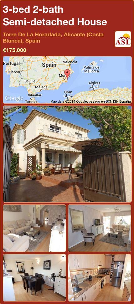 3-bed 2-bath Semi-detached House in Torre De La Horadada, Alicante (Costa Blanca), Spain ►€175,000 #PropertyForSaleInSpain