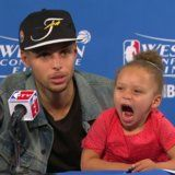 Stephen Curry's adorable daughter Riley stole the show at his recent postgame press conference by singing Drake into the microphone.