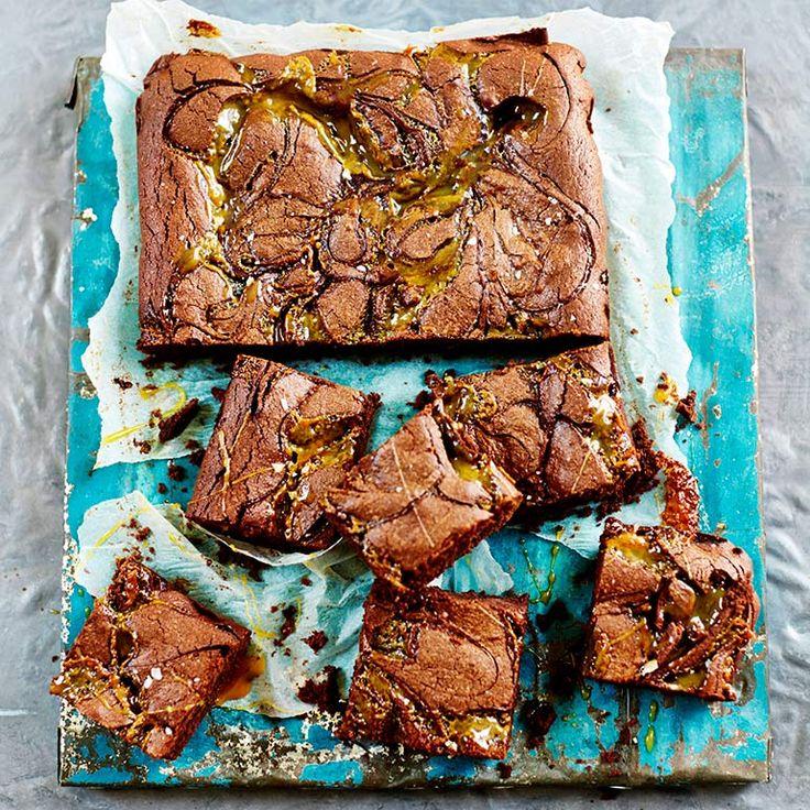 Brownie met gezouten karamel