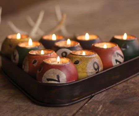 Create some tasteful lighting inside your man cave or bachelor pad by igniting a set of pool ball candles. Styled after the classic billiard triangle, the...