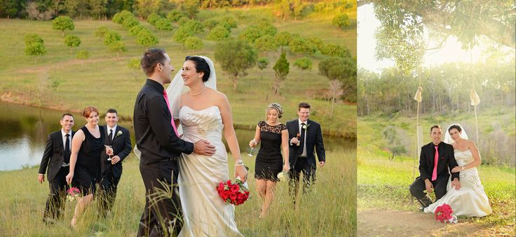 A stroll in the country as newlyweds
