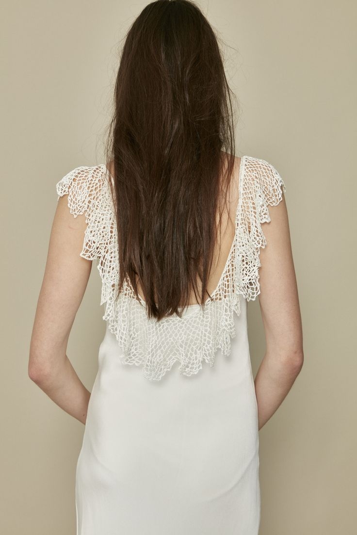 Aster dress with crochet lace attached at shoulders