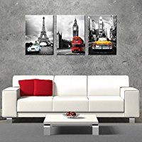 CanvasCEO NYC Paris London Eiffel Tower New York City France Europe Big Ben Car Double Decker Red Bus 3 Panel Set Wall Art Decor Canvas Framed Ready to Hang Print Fiberboard (20x14x1