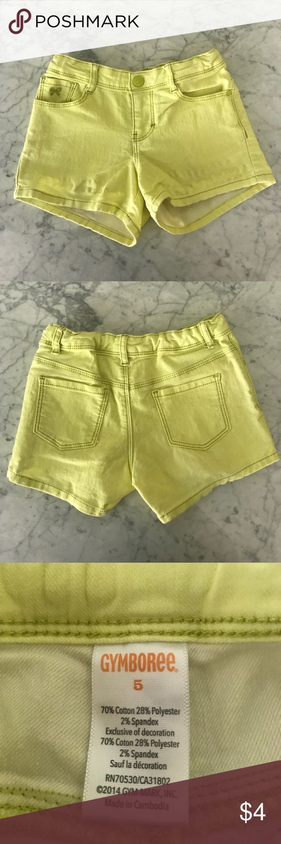 Neon Yellow shorts Denim neon yellow shorts w/ adjustable elastic waistband. 5 pocket style and snap button closure. If you take a look at the lower leg area, there is some stretching but does not affect the jean. Gymboree Bottoms