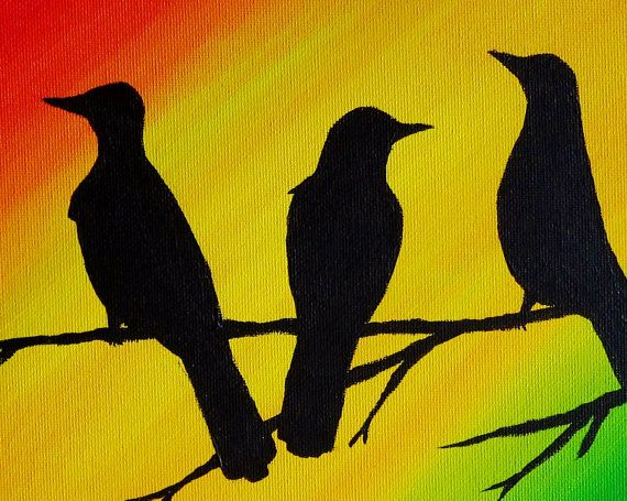 Three Little Birds Bob Marley Original Painting by Paintspiration