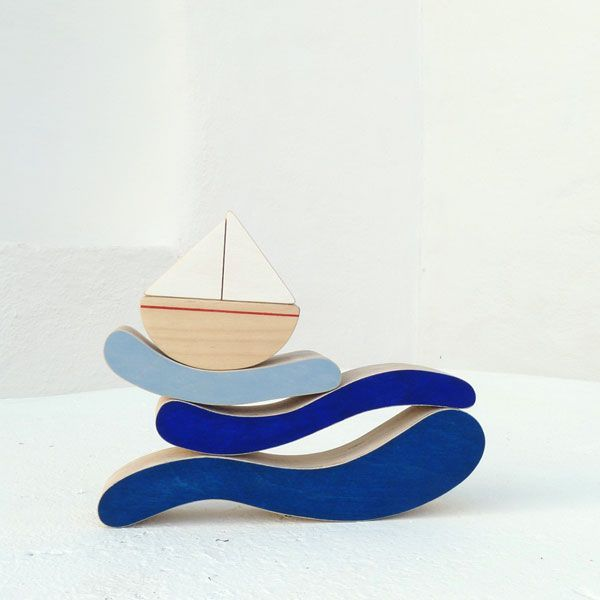 The Boat and Waves Stacking Toy - Ecofriendly wooden toy by The Wandering Workshop