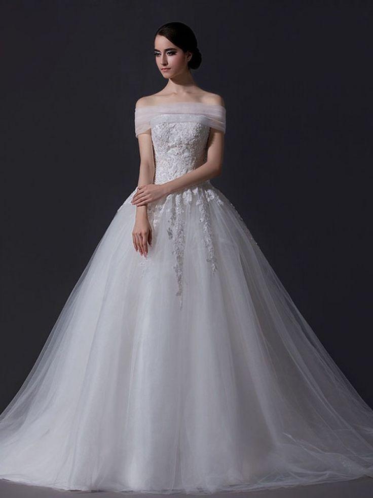 ウェディングドレス プリンセスライン ベアトップ オーガンジー レースアップ ノースリーブ アップリケ アイボリー スウィープ 結婚式 二次会ドレス Hlb0033