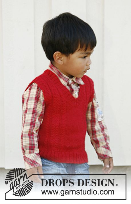 "Justus - Knitted DROPS vest with v-neck and cables in ""Alpaca"". Size 3 - 12 years. - Free pattern by DROPS Design"