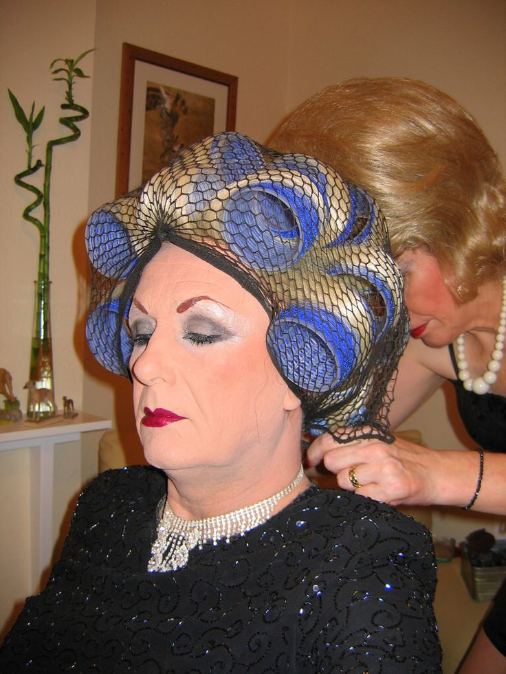 sissy boy in hair rollers jim s so cute in his curlers hairnet and makeup such a