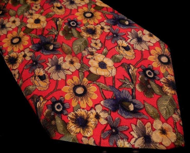 LANDS End TIE Multicolor FLORAL Vibrant BRIGHT Red USA Silk HAND Sewn NECKTIE Sz #LandsEnd #Tie