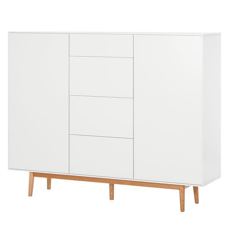 Sideboard Lindholm IV - Eiche teilmassiv - Weiß - 128 cm