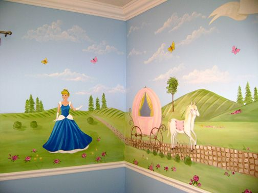 Princess cinderella mural princess cinderella mural this for Cinderella wall mural