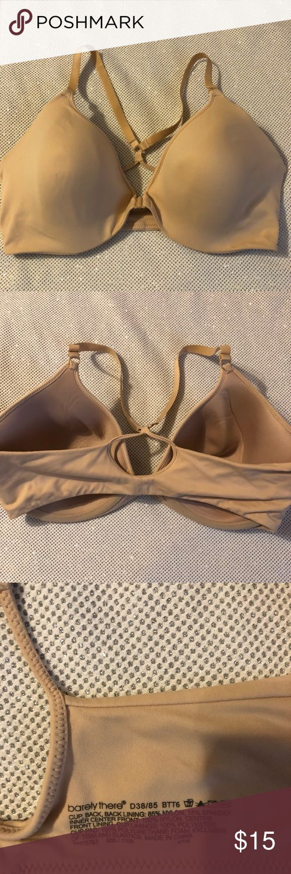 Barely There Bra Barely There Bra 38D. Racerback style with front closure.                                                      SIZE:38D MATERIAL:85% Nylon and 15% Spandex CARE:Hand Wash Cold CONDITION:Preowned, Excellent condition  • Ships only within US. • From a smoke and pet free   environment. • Please feel free to ask me any questions.  ❤️All reasonable offers will be considered. Please do not offer 50% below the listing price. Thank you😊 Barely There Intimates & Sleepwear Bras