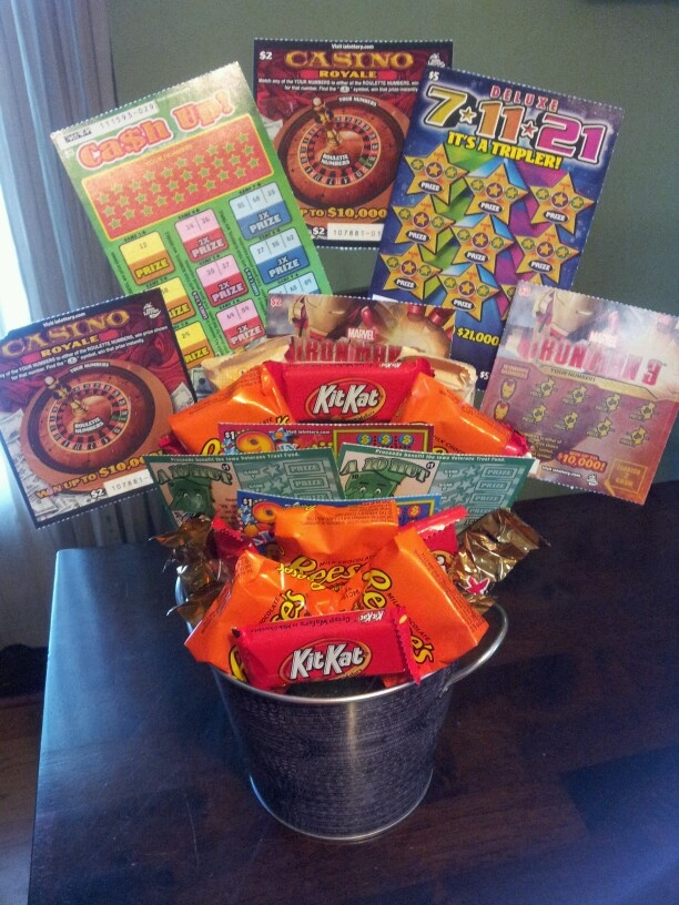 Candy/lottery bouquet for the man who already has everything.