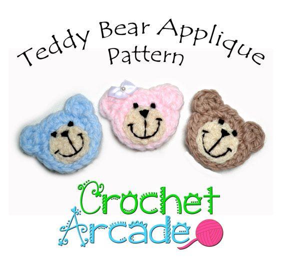 Teddy Bear Applique Crochet Pattern by CrochetArcade on Etsy, £2.49