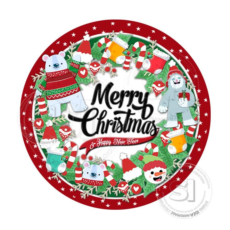 """INSTANT DOWNLOAD- Christmas Wishes-Christmas Wreath with Toys- Printable 2.5"""" Tag-Merry Christmas  2.5 inches Circle Tags DIY Favor Tags-Stickers"""