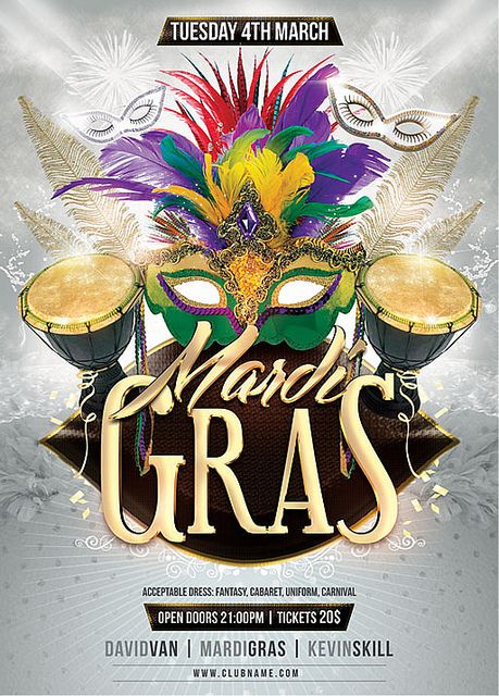 Best Carnival Images On   Flyer Template Mardi Gras