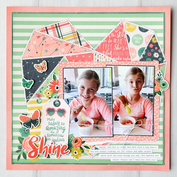 Echo Park Patchwork Heart Scrapbook Layout by Jana Eubank.